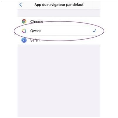 L'application du navigateur Qwant disponible par défaut sur iOS
